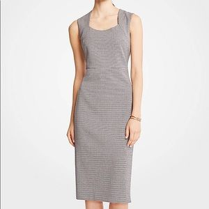 Ann Taylor Petite Houndstooth Square Neck Dress